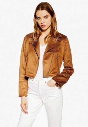 Куртка кожаная Topshop. Цвет: коричневый