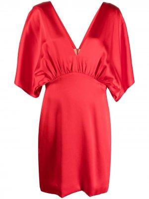 Платье с V-образным вырезом и сборками Semicouture. Цвет: красный