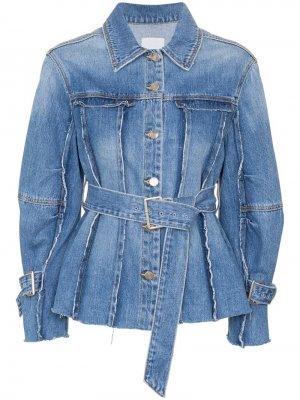 Джинсовая куртка с поясом и необработанными швами SJYP
