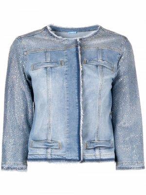Джинсовая куртка со стразами LIU JO. Цвет: синий