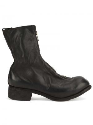 Ботинки с молнией спереди Guidi. Цвет: черный