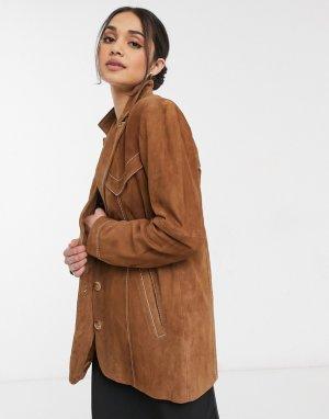 Коричневая замшевая куртка в стиле вестерн Ellie-Коричневый цвет Gestuz
