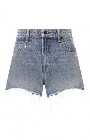Джинсовые шорты с потертостями Denim X Alexander Wang. Цвет: синий