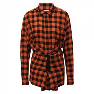 Рубашка из вискозы и шерсти Kenzo. Цвет: оранжевый