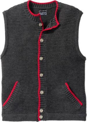 Вязаный жилет Regular Fit в традиционном стиле (антрацитовый меланж) bonprix. Цвет: антрацитовый меланж
