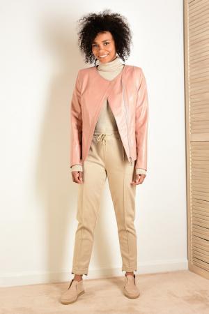 Куртка кожаная GRAFINIA. Цвет: розовый