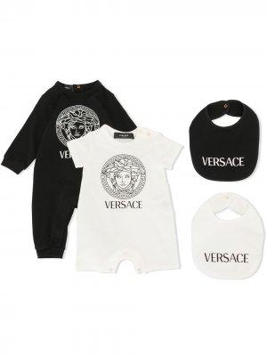 Комплект из двух комбинезонов и нагрудников с логотипом Medusa Young Versace. Цвет: черный