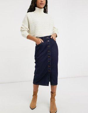 Синяя джинсовая юбка миди на пуговицах -Синий French Connection