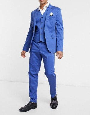 Темно-синие костюмные брюки узкого кроя из хлопка от комплекта wedding-Темно-синий ASOS DESIGN