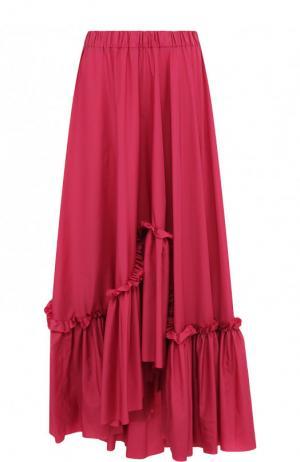 Однотонная юбка-макси асимметричного кроя с оборками Vionnet. Цвет: фиолетовый
