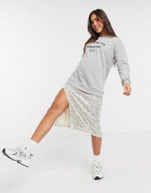 Серое спортивное платье-свитшот миди с юбкой пайетками -Серый River Island