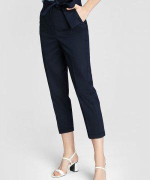 Зауженные брюки из хлопка O`Stin. Цвет: темно-синий