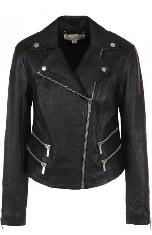 Кожаная куртка с косой молнией MICHAEL Kors. Цвет: черный