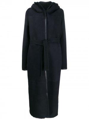 Однобортное пальто Liska. Цвет: синий