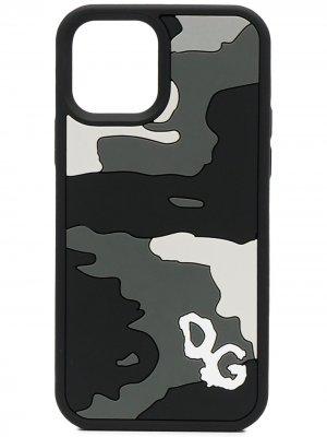 Чехол для iPhone 12 Pro с камуфляжным принтом Dolce & Gabbana. Цвет: черный