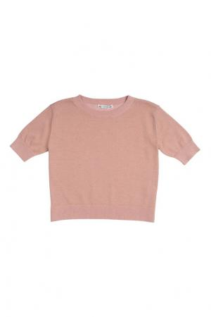 Хлопковый пуловер с люрексом Bonpoint. Цвет: розовый
