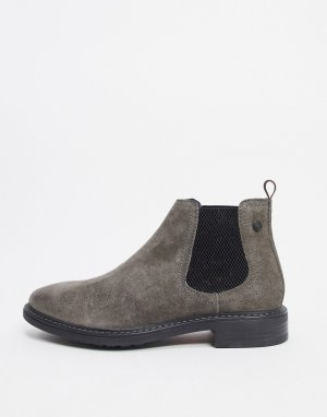 Темно-серые замшевые ботинки челси -Серый Base London