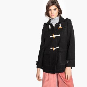 Дафлкот с капюшоном из полушерстяной ткани LA REDOUTE COLLECTIONS. Цвет: красный,черный
