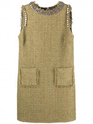 Твидовое платье без рукавов Blumarine. Цвет: зеленый