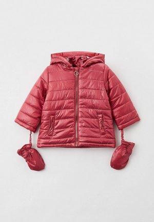 Куртка утепленная и варежки Coccodrillo. Цвет: розовый
