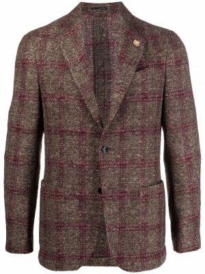 Однобортный пиджак в клетку Lardini. Цвет: коричневый
