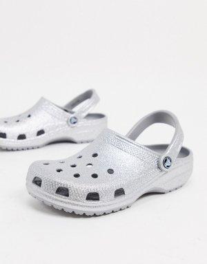 Серебристые классические клоги с блестками -Серебристый Crocs