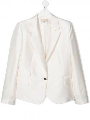 Однобортный пиджак строгого кроя ELIE SAAB JUNIOR. Цвет: белый
