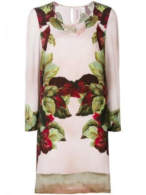 Платье-шифт с принтом и украшением из бусин Antonio Marras