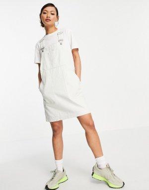 Серовато-белое платье-комбинезон -Белый Dr Denim