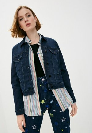 Куртка джинсовая Love Moschino. Цвет: синий