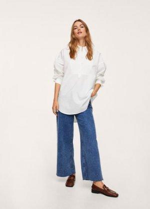 Объемная блузка из хлопка - Solemne Mango. Цвет: грязно-белый
