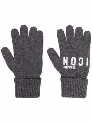 Трикотажные перчатки с вышитым логотипом Dsquared2. Цвет: серый