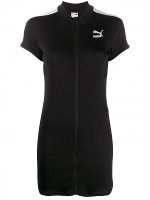 Приталенное платье мини на молнии Puma. Цвет: черный