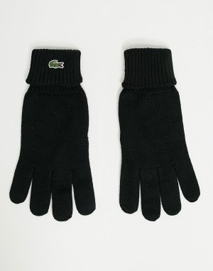 Вязаные перчатки с логотипом -Черный цвет Lacoste