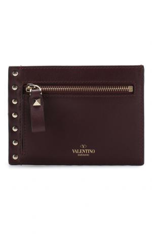 Кожаный футляр для кредитных карт Garavani Rockstud Valentino. Цвет: бордовый