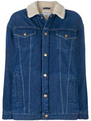 Джинсовая куртка с воротником из овечьей шерсти Carhartt. Цвет: синий
