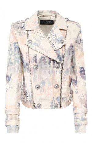 Кожаная куртка Balmain. Цвет: разноцветный
