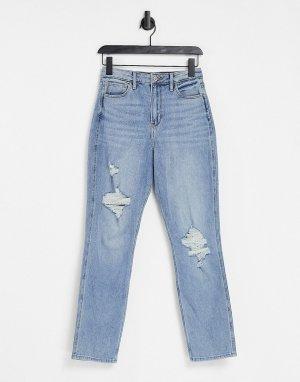 Выбеленные джинсы бойфренда цвета индиго со рваными коленями -Голубой Hollister