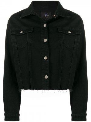 Джинсовая куртка с бахромой 7 For All Mankind. Цвет: черный