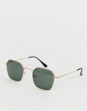 Квадратные солнцезащитные очки в золотистой оправе -Золотой AJ Morgan