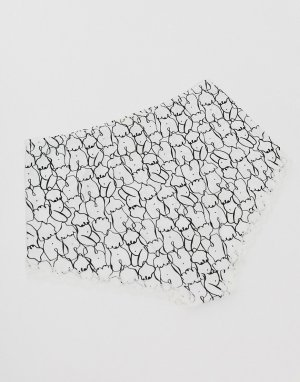 Черно-белые трусы с завышенной талией и принтом -Мульти Monki