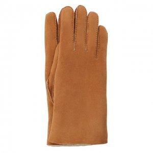 Замшевые перчатки с подкладкой из меха Agnelle. Цвет: коричневый