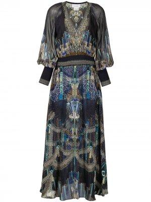 Shirred-waist V-neck dress Camilla. Цвет: синий