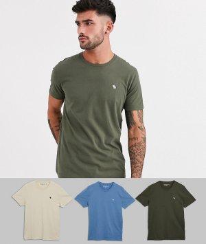Комплект из 3 футболок с круглым вырезом и логотипом Abercrombie & Fitch. Цвет: мульти