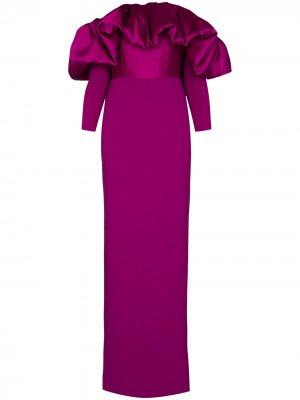 Платье макси Elson с открытыми плечами Solace London. Цвет: фиолетовый