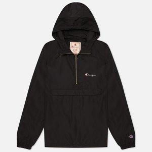 Мужская куртка анорак Half Zip-Up Hooded Champion Reverse Weave. Цвет: чёрный