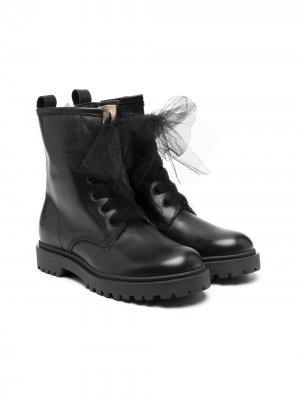Ботинки на шнуровке с декором из тюля Florens. Цвет: черный