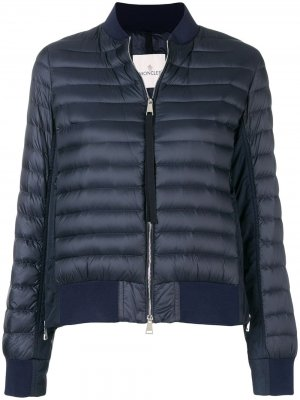 Пуховая куртка-бомбер со вставками Moncler. Цвет: синий