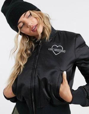 Черный бомбер с логотипом Love Moschino