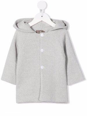 Chunky-knit hooded cardigan Little Bear. Цвет: серый